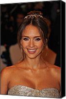 Updo Canvas Prints - Jessica Alba Wearing A Ralph Lauren Canvas Print by Everett