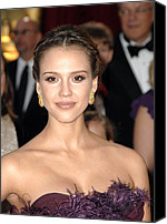 Gold Earrings Photo Canvas Prints - Jessica Alba Wearing Cartier Earrings Canvas Print by Everett