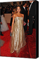 Metropolitan Museum Of Art Costume Institute Canvas Prints - Jessica Alba Wearing Ralph Lauren Canvas Print by Everett