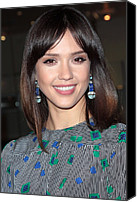 Dangly Earrings Canvas Prints - Jessica Alba Wearing Vintage Earrings Canvas Print by Everett