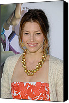 Gold Earrings Photo Canvas Prints - Jessica Biel At Arrivals For Planet 51 Canvas Print by Everett
