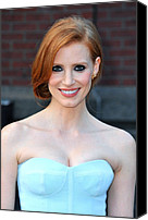 Gold Earrings Photo Canvas Prints - Jessica Chastain At Arrivals For The Canvas Print by Everett