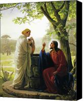Well Canvas Prints - Jesus and the Samaritan Woman Canvas Print by Carl Bloch
