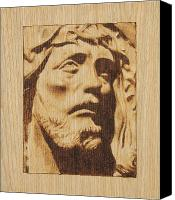 Wood Pyrography Canvas Prints - Jesus Christ Canvas Print by Conrad  Pinto