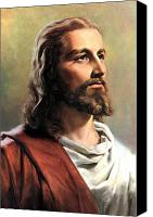 Christianity Canvas Prints - Jesus Christ Canvas Print by Munir Alawi
