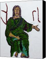Mosaic Glass Art Canvas Prints - Jesus Canvas Print by Emma Kinani