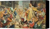 Edwin Canvas Prints - Jesus Removing the Money Lenders from the Temple Canvas Print by James Edwin McConnell
