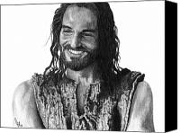 Pencil Drawing Canvas Prints - Jesus Smiling Canvas Print by Bobby Shaw
