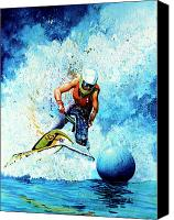 Skiing Prints Canvas Prints - Jet Blue Canvas Print by Hanne Lore Koehler
