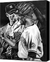 New York Yankees Canvas Prints - Jeter and Mariano Canvas Print by Jerry Winick