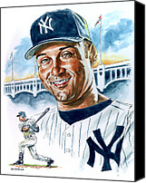 Baseball Painting Canvas Prints - Jeter Canvas Print by Tom Hedderich