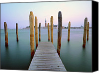 Wooden Post Canvas Prints - Jetty Canvas Print by Bernd Schunack