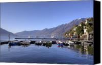 Mountain View Photo Canvas Prints - jetty in Ascona Canvas Print by Joana Kruse