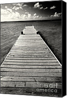 Grand Cayman Canvas Prints - Jetty Perspective Canvas Print by George Oze