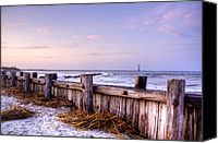 Beach Photograph Canvas Prints - Jetty Sunset Canvas Print by Drew Castelhano