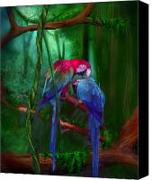 The Art Of Carol Cavalaris Mixed Media Canvas Prints - Jewels Of The Jungle Canvas Print by Carol Cavalaris