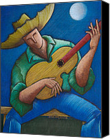 Puerto Rico Drawings Canvas Prints - Jibaro bajo la luna Canvas Print by Oscar Ortiz