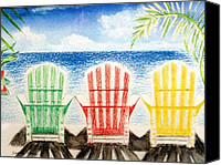 Grey Clouds Painting Canvas Prints - Jills Beach Chairs Canvas Print by Jamie Frier