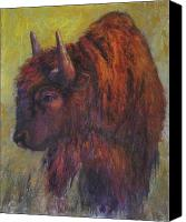 Bison Pastels Canvas Prints - Jim Brown Canvas Print by Susan Williamson