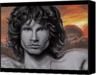 Black And White Pastels Canvas Prints - Jim Morrison Canvas Print by Dennis Jones