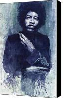 Hendrix Canvas Prints - Jimi Hendrix 01 Canvas Print by Yuriy  Shevchuk
