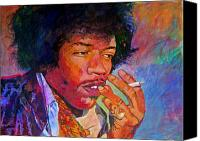 Guitar Hero Canvas Prints - Jimi Hendrix Dreaming Canvas Print by David Lloyd Glover