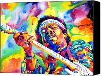 Featured Painting Canvas Prints - Jimi Hendrix Electric Canvas Print by David Lloyd Glover