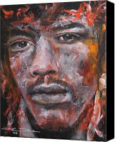 The Beatles. Celebrity Portraits Canvas Prints - Jimi Hendrix Manic Depression Canvas Print by Eric Dee