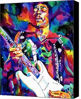 Guitar Painting Canvas Prints - Jimi Hendrix Purple Canvas Print by David Lloyd Glover