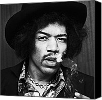 Rock And Roll Canvas Prints - Jimi Hendrix Smoking Canvas Print by Chris Walter