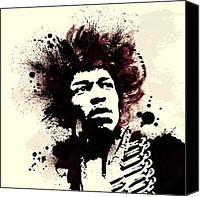 Hendrix Canvas Prints - Jimi Canvas Print by Laurence Adamson