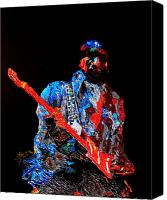 Celebrity Reliefs Canvas Prints - Jimi with guitar Canvas Print by Mike Aitken