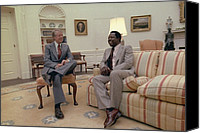 Baseball Players Canvas Prints - Jimmy Carter Chatting With Hank Aaron Canvas Print by Everett