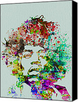 Guitar Painting Canvas Prints - Jimmy Hendrix watercolor Canvas Print by Irina  March