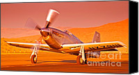 Sports Prints Canvas Prints - Jimmy Leeward and The Galloping Ghost Overtime Sunset Takeoff Canvas Print by Gus McCrea