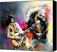 Portrait Mixed Media Canvas Prints - Jimmy Page and Robert Plant Led Zeppelin Canvas Print by Miki De Goodaboom