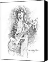 Gibson Guitar Canvas Prints - Jimmy Page Burns it Canvas Print by David Lloyd Glover
