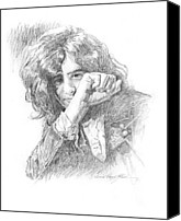 Collectable Painting Canvas Prints - Jimmy Page in Person Canvas Print by David Lloyd Glover