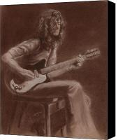 People Pastels Canvas Prints - Jimmy Page Canvas Print by Kathleen Kelly Thompson