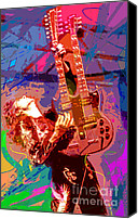 Featured Painting Canvas Prints - Jimmy Page Stairway To Heaven Canvas Print by David Lloyd Glover