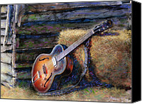 Barn Mixed Media Canvas Prints - Jims Guitar Canvas Print by Andrew King