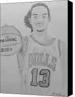 Noah Drawings Canvas Prints - Joakim Noah Canvas Print by Estelle BRETON-MAYA