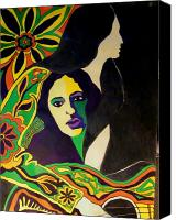 1960 Painting Canvas Prints - Joan Baez In The Psychodelic Age Canvas Print by Judith Redman