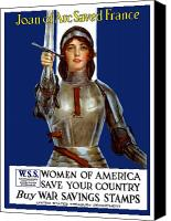 One Mixed Media Canvas Prints - Joan of Arc Saved France Canvas Print by War Is Hell Store