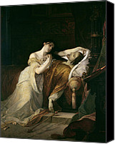 Dead; Deathbed; Spanish; Juana Canvas Prints - Joanna the Mad with Philip I the Handsome Canvas Print by Louis Gallait