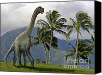 Reptiles Mixed Media Canvas Prints - Jobaria in Meadow Canvas Print by Frank Wilson