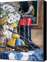Cap Painting Canvas Prints - Jockey Still Life Canvas Print by Thomas Allen Pauly