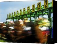 Racing Number Canvas Prints - Jockeys Leaving Starting Gates Canvas Print by The Irish Image Collection