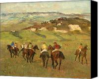 Impressionism Canvas Prints - Jockeys on Horseback before Distant Hills Canvas Print by Edgar Degas