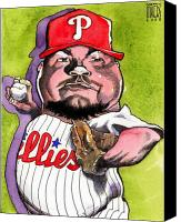 Phillies Drawings Canvas Prints - Joe Blanton -Phillies Canvas Print by Robert  Myers